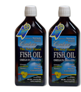 Carlson Very Finest Norwegian Fish Oil 33.8 FL OZ (1000 ml) - Lemon Flavor-Twin pack of 500ml