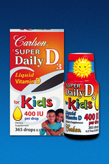 New! Carlson Super Daily D3 for Kids Drops- 400 I.U of Vitamin D3 per drop,10ml