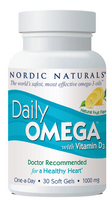 Nordic Naturals Daily Omega with Vitamin D3, 1000 mg, 30 softgels-Lemon