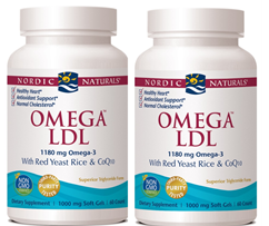 Nordic Naturals Omega LDL with red yeast rice and CoQ10 - 120 ct (60 softgels- twin pack)