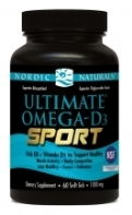 Nordic Naturals Ultimate Omega D3-SPORT, Lemon- 60 softgels
