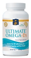 Nordic Naturals Ultimate Omega D3- Concentrated EPA DHA with Vitamin D3 - 120 softgels