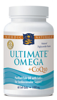 Nordic Naturals Ultimate Omega + CoQ10 -100mg of CoQ10- 60 softgels-Unflavored
