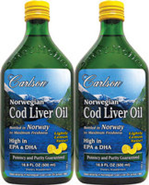 Carlson Norwegian Cod Liver Oil - 33.8 FL OZ (1000 ml) -Twin Pack of 500ml bottles