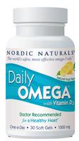 Nordic Naturals Daily Omega with Vitamin D3, 1000 mg, 30 softgels-Lemon