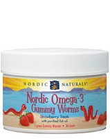 Nordic Omega-3 Gummy Worms 30 chewable Kids Omega-3 Strawberry Gummies